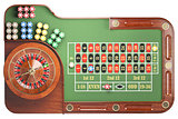 Casino roulette wheel with casino chips on green table isolated