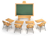 School classroom. Empty chalkboard and school desks isolated on