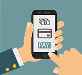 mobile payment credit card, hand holding phone, flat design