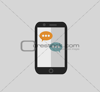 Flat vector phone illustration with bubble speech