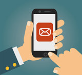 Hand touching smart phone with Email symbol on the screen. Using smartphone similar to iphone, flat design concept. vector.