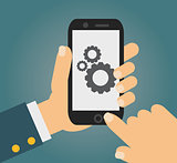 Vector app development concept in flat style - mobile phone and sketch on screen