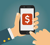 Hand touching smartphone with dollar sign on the screen. Using mobile smart phone similar to iphon, flat design concept. vector illustration