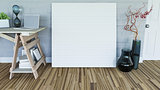 3D blank canvas leaning against a wall in a room interior