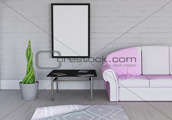 3D blank picture frame in room interior