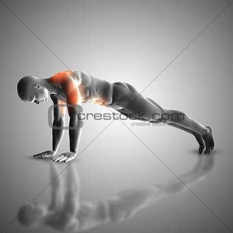 3D male figure in press up position