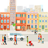 Street in the city with people. illustration