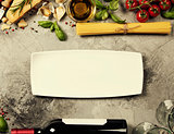 Italian food background. Slate background with space for text