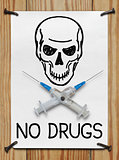 Banner with a skull and syringe