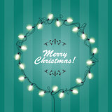 Christmas Lights wreath frame - round festive lights garlands