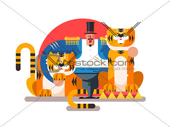 Animal trainer with tiger