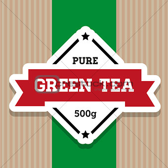 Green Tea vintage stamp label