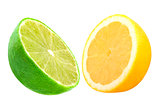 Half lime and lemon isolated on white