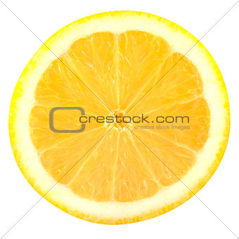 Slice lemon fruits isolated on white background