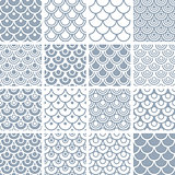 Seamless fish scale patterns set.