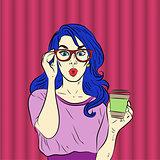 Pop art surprised blue hair woman face. Vector illustration.