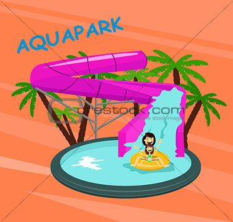 Aquapark poster template with water pool slides pipes cheerful family and children