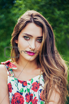Portrait of beautiful girl wearing trendy outfit. Summer fashion