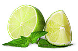 Several pieces of lime with mint