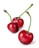 Several sweet cherries in row