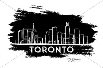 Toronto Skyline Silhouette. Hand Drawn Sketch.