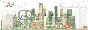 Abstract USA Skyline with Color Skyscrapers and Landmarks.