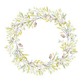 Watercolor Wreath with Oak Acorn and Leaves. Isolated on White B