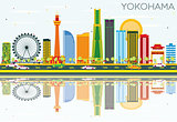 Yokohama Skyline with Color Buildings, Blue Sky and Reflections.