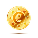 Bright glossy golden coin with euro sign on white
