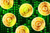 Golden coins with bitcoin, ethereum and dashcoin signs on green matrix binary code, cryptocurrency concept illustration