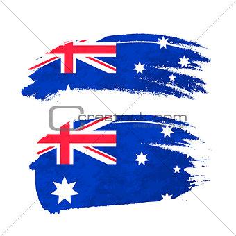 Grunge brush stroke with Australian national flag on white