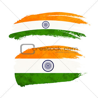 Grunge brush stroke with India national flag on white