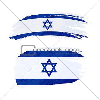 Grunge brush stroke with Israel national flag on white