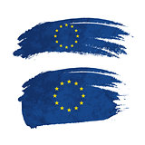 Grunge brush stroke with European Union national flag on white