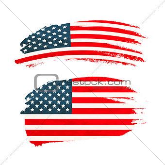 Grunge brush stroke with USA national flag on white