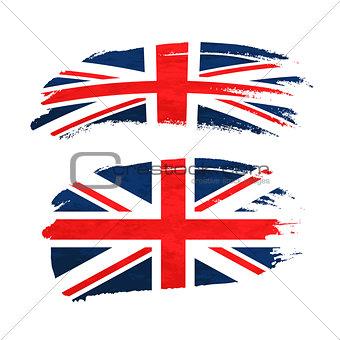 Grunge brush stroke with United Kingdom national flag on white