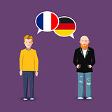 Two people with white speech bubbles with France and Germany flags. Language study concept illustration