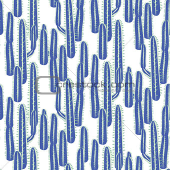 Cactus long blue plant vector seamless pattern. Abstract desert nature fabric print.