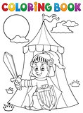 Coloring book knight by tent theme 1
