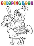 Coloring book knight on horse theme 2