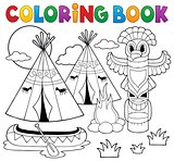 Coloring book Native American campsite