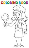 Coloring book policewoman image 1