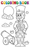 Coloring book retro soldier
