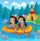Native American children in boat theme 2