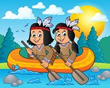 Native American children in boat theme 3