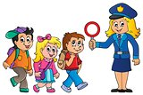 Pupils and policewoman image 1