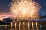 Fireworks on the Lugano Lake in summer night