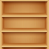 Empty Wooden Bookshelves