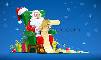 Santa claus sit in armchair and read