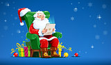 Santa claus sit in armchair with tablet.